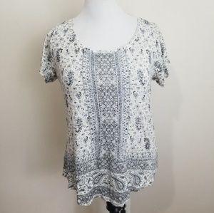 Lucky Brand Printed Short Sleeve T-shirt Sz L